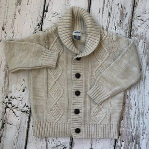🌿Old Navy 3T Beige Tan Shawl Collar Knit Sweater